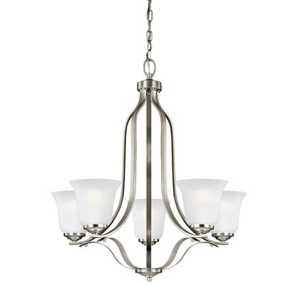 Burhall 9W 5-Light Shaded Chandelier Finish: Brushed Nickel