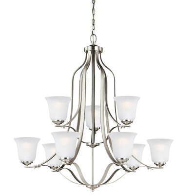 Burhall 75W 9-Light Shaded Chandelier Finish: Brushed Nickel