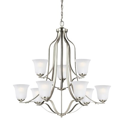 Burhall 9-Light Shaded Chandelier Finish: Brushed Nickel