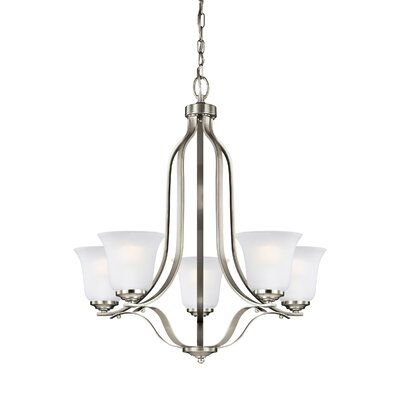 Burhall 5-Light Shaded Chandelier Finish: Brushed Nickel