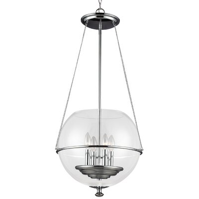 Burley Oak 4-Light Globe Pendant Finish: Chrome