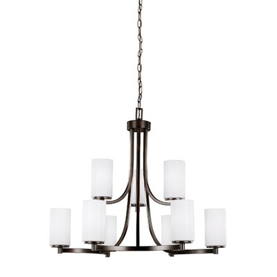 Burnley 60W 9-Light Shaded Chandelier Finish: Burnt Sienna
