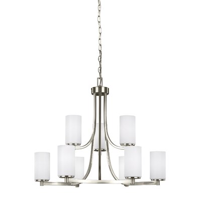 Burnley 60W 9-Light Shaded Chandelier Finish: Brushed Nickel