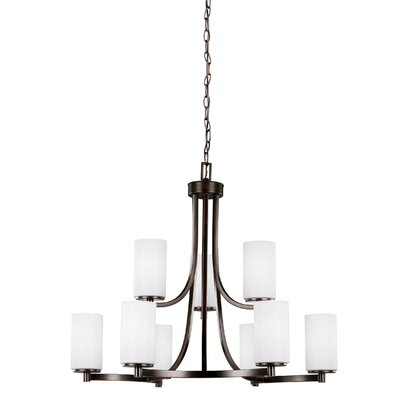 Burnley 9-Light Shaded Chandelier Finish: Burnt Sienna