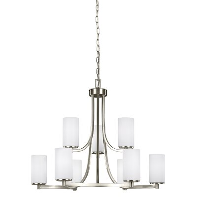 Burnley 9-Light Shaded Chandelier Finish: Brushed Nickel