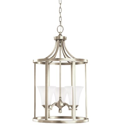 Bushmills 3-Light Foyer Pendant Finish: Antique Brushed Nickel, Shade Color: Satin Etched