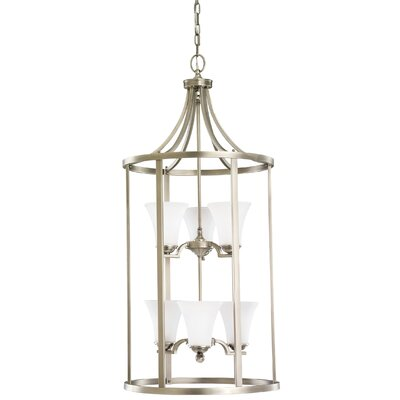 Bushmills 6-Light Foyer Pendant Finish: Antique Brushed Nickel, Shade Color: Satin Etched