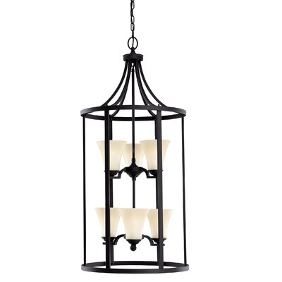 Bushmills 6-Light Foyer Pendant Finish: Blacksmith, Shade Color: Caf�