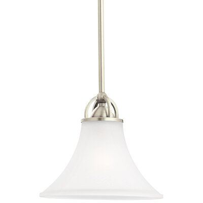 Bushmills 1-Light Mini Pendant Finish: Antique Brushed Nickel, Shade Color: Satin Etched