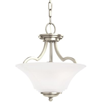 Bushmills 2-Light Bowl Pendant Finish: Antique Brushed Nickel, Shade Color: Satin Etched