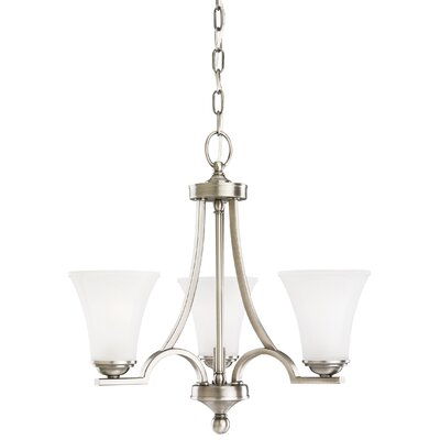 Bushmills 3-Light Mini Chandelier Finish: Antique Brushed Nickel, Shade Color: Satin Etched