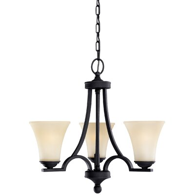 Bushmills 3-Light Mini Chandelier Finish: Blacksmith, Shade Color: Caf�