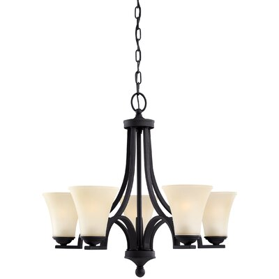Bushmills 5-Light Shaded Chandelier Finish: Blacksmith, Shade Color: Caf�