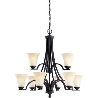 Bushmills 9-Light Shaded Chandelier Finish: Blacksmith, Shade Color: Caf�