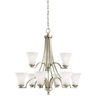 Bushmills 9-Light Shaded Chandelier Finish: Antique Brushed Nickel, Shade Color: Satin Etched
