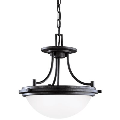 Dashiell 2-Light Bowl Pendant Base Finish: Blacksmith