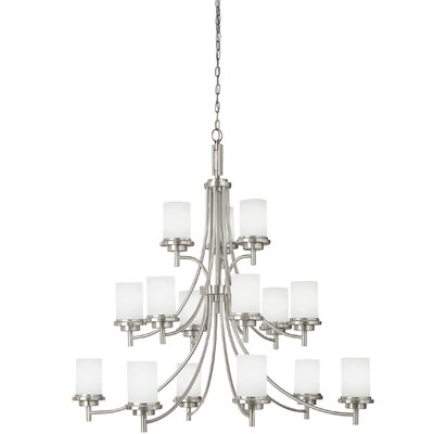 Dashiell 15-Light Shaded Chandelier Finish: Brushed Nickel