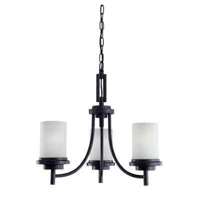 Dashiell 3-Light Shaded Chandelier Finish: Blacksmith, Bulb Type: Incandescent A19 100W