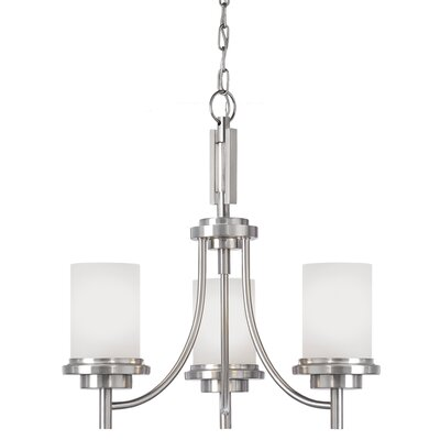 Dashiell 3-Light Shaded Chandelier Finish: Brushed Nickel, Bulb Type: Incandescent A19 100W