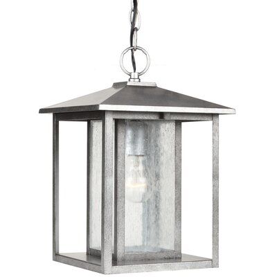 Buren 1-Light Mini Pendant Bulb Type: 100W Line Medium, Finish: Weathered Pewter with Clear Seeded Glass