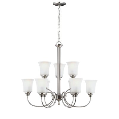 Buren 9-Light Shaded Chandelier Finish: Brushed Nickel, Bulb Type: Fluorescent