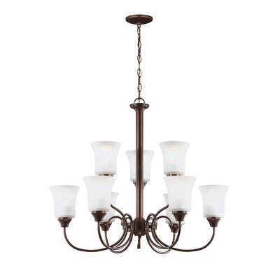 Buren 9-Light Shaded Chandelier Finish: Bell Metal Bronze, Bulb Type: Incandescent