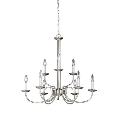 Buren 9-Light Candle-Style Chandelier Finish: Brushed Nickel