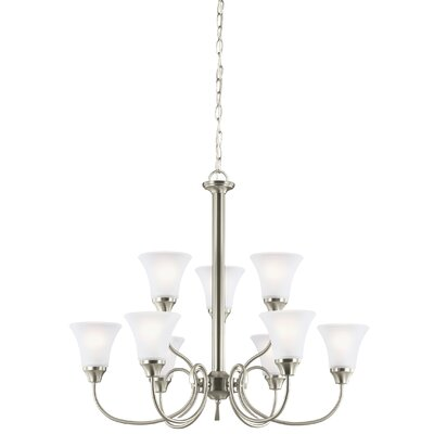 Buren 9-Light Shaded Chandelier Finish: Brushed Nickel