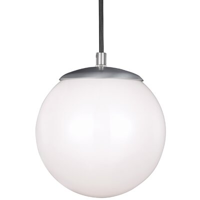 Graybeal 1-Light Globe Aluminum Pendant Finish: Satin Aluminum, Size: 14.75 H x 14 W x 14 D