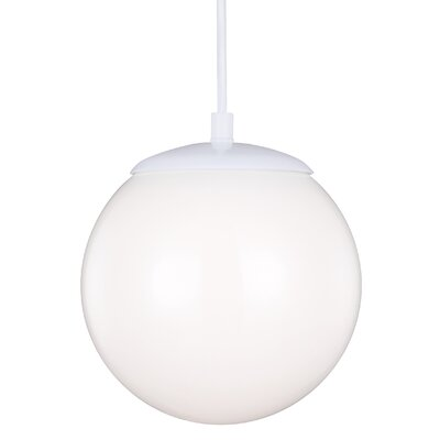 Graybeal 1-Light Globe Aluminum Pendant Finish: White, Size: 14.75 H x 14 W x 14 D