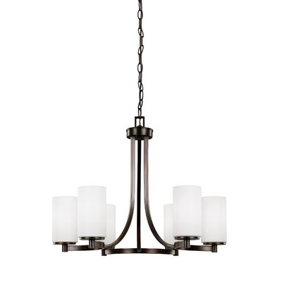 Burnley 100W 6-Light Shaded Chandelier Finish: Burnt Sienna