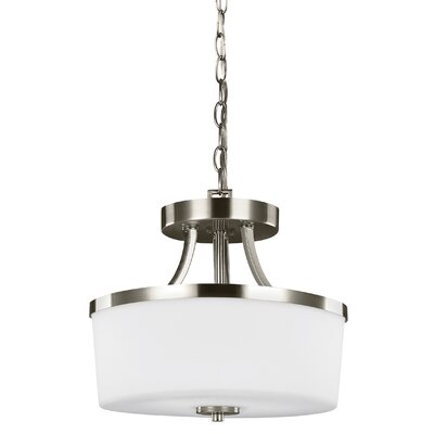 Burnley 2-Light Drum Pendant Finish: Brushed Nickel