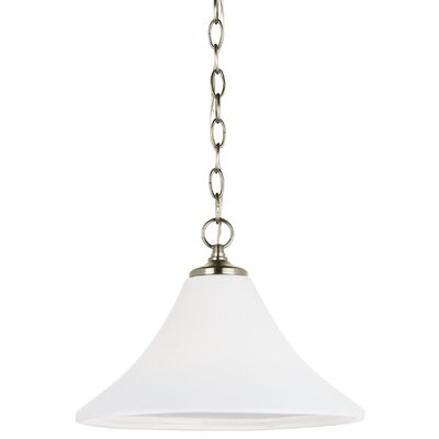 Sowders 1-Light Inverted Pendant Base Finish: Antique Brushed Nickel, Shade Color: White Etched