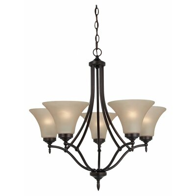 Sowders 5-Light Shaded Chandelier Finish: Burnt Sienna, Glass Color: Cafe Tint, Bulb Type: 100W A-19 Medium