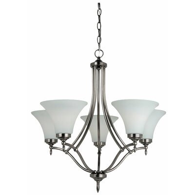 Sowders 5-Light Shaded Chandelier Finish: Antique Brushed Nickel, Glass Color: Etched / White Inside, Bulb Type: 100W A-19 Medium