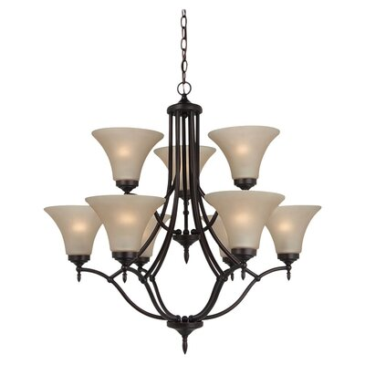 Sowders 9-Light Shaded Chandelier Finish: Burnt Sienna, Glass Color: Cafe Tint, Bulb Type: 100W A-19 Medium