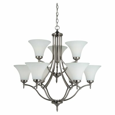 Sowders 9-Light Shaded Chandelier Finish: Antique Brushed Nickel, Glass Color: Etched / White Inside, Bulb Type: 100W A-19 Medium