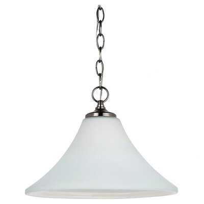 Sowders 1-Light Downlight Foyer Pendant Finish: Antique Brushed Nickel, Glass Color: Etched / White Inside, Bulb Type: 100W A-19 Medium