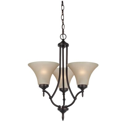 Sowders 3-Light Shaded Chandelier Finish: Burnt Sienna, Glass Color: Cafe Tint, Bulb Type: 100W A-19 Medium