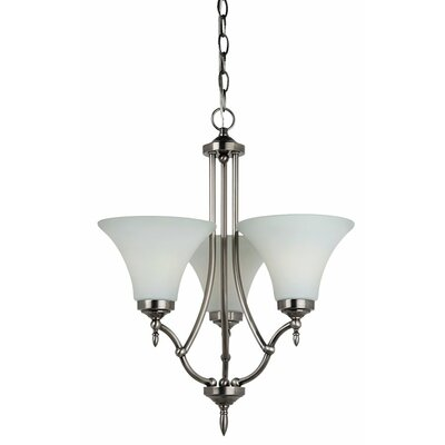 Byrne 3-Light Shaded Chandelier Bulb Type: 100W A-19 Medium, Finish: Antique Brushed Nickel, Glass Color: Etched / White Inside