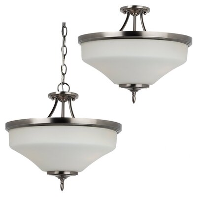 Sowders 3-Light Semi Flush Mount Finish: Antique Brushed Nickel, Glass Color: Etched / White Inside, Bulb Type: 100W A-19 Medium