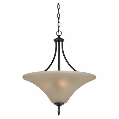 Sowders 3-Light Uplight Inverted Pendant Finish: Burnt Sienna, Glass Color: Cafe Tint, Bulb Type: 100W A-19 Medium