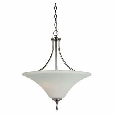 Byrne 3-Light Uplight Inverted Pendant Bulb Type: 100W A-19 Medium, Finish: Antique Brushed Nickel, Glass Color: Etched / White Inside Glass Inside