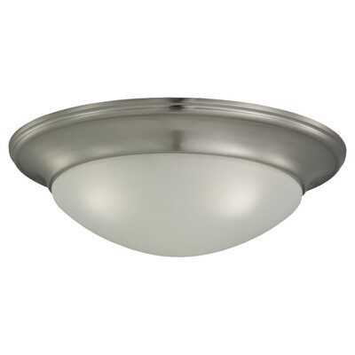 Byrnedale 1-Light Ceiling Flush Mount Finish: Brushed Nickel, Size: 5.5 H x 16.75 W x 16.75 D