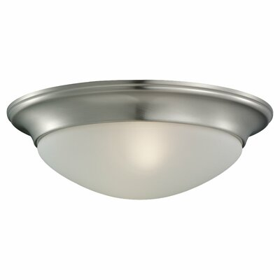 Byrnedale 1-Light Ceiling Flush Mount Finish: Brushed Nickel, Size: 4.5 H x 14 W x 14 D