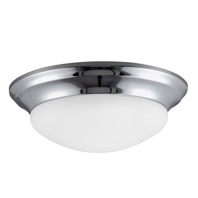 Byrnedale 1-Light Ceiling Flush Mount Finish: White, Size: 4.5 H x 14 W x 14 D