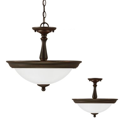 Drysdale 2-Light Bowl Pendant Finish: Roman Bronze, Bulb Type: 100W A19 Medium