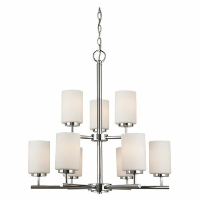 Gaskell 9-Light Shaded Chandelier Finish: Chrome, Bulb Type: 100W Medium