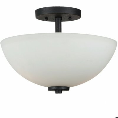 Gaskell 2-Light Semi Flush Mount Bulb Type: 100W Medium, Finish: Blacksmith