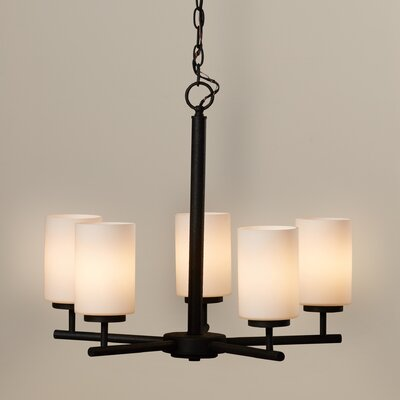 Gaskell 5-Light Shaded Chandelier Finish: Blacksmith, Bulb Type: 100W Medium